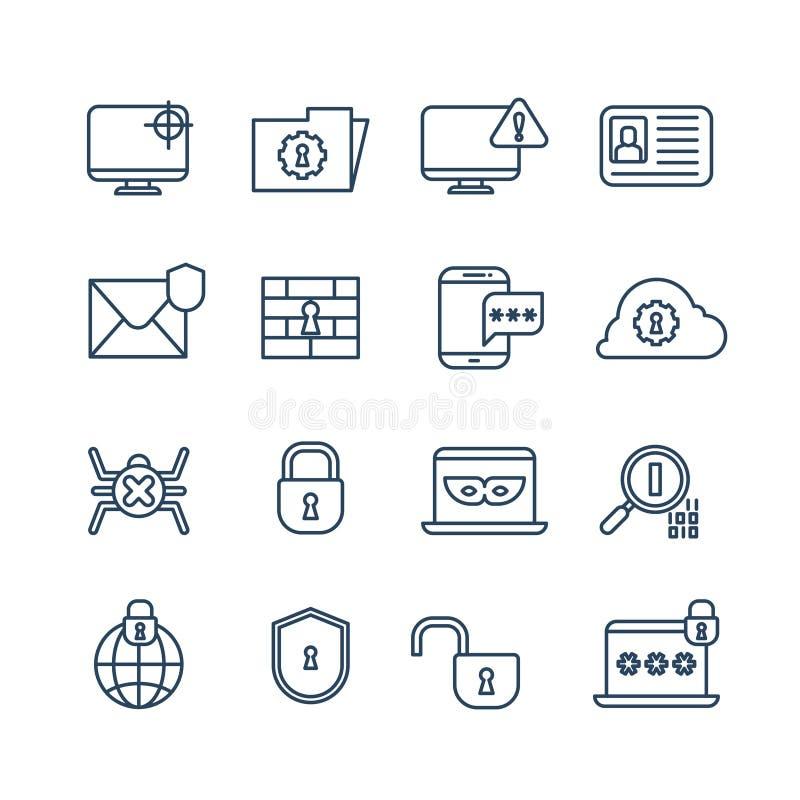 Kryptografi, internetsäkerhet och biometric skydd skisserar vektorsymboler stock illustrationer