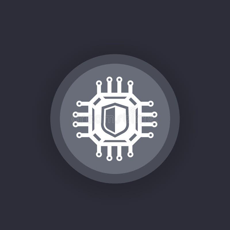 Kryptografi symbol för cybersäkerhetsvektor vektor illustrationer