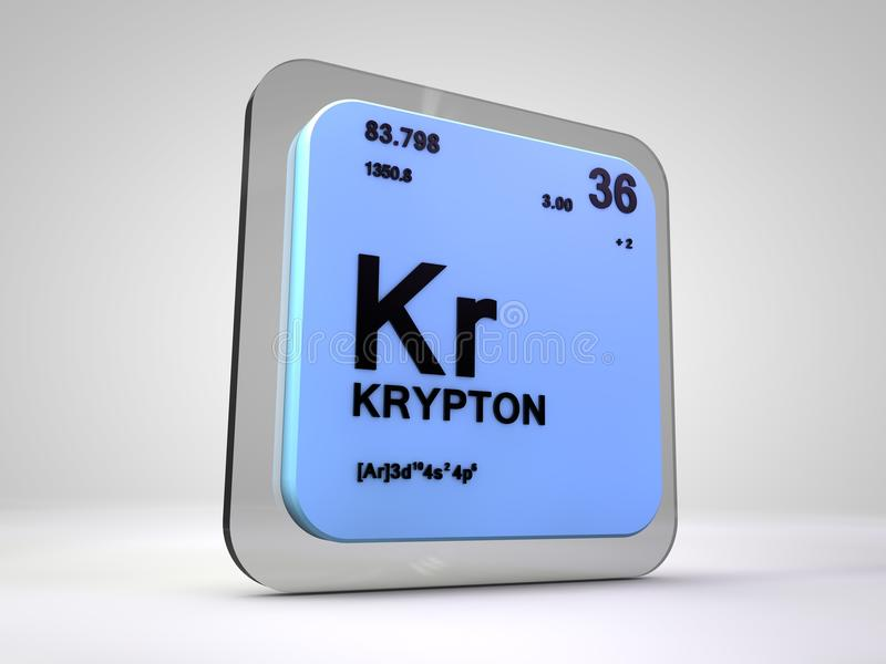 Krypton Kr Chemical Element Periodic Table Stock Illustration