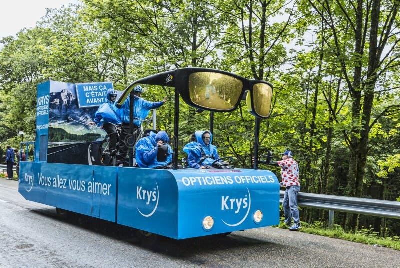 Krys Vehicle na estrada do Tour de France do Le fotografia de stock royalty free