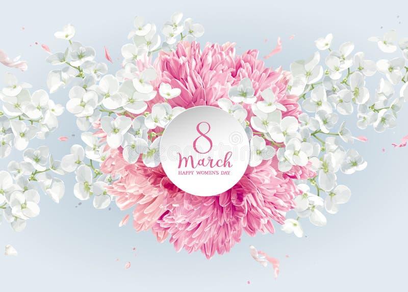 Krysantemum- och Apple blomning för 8 för vektorhälsning för mars bil stock illustrationer