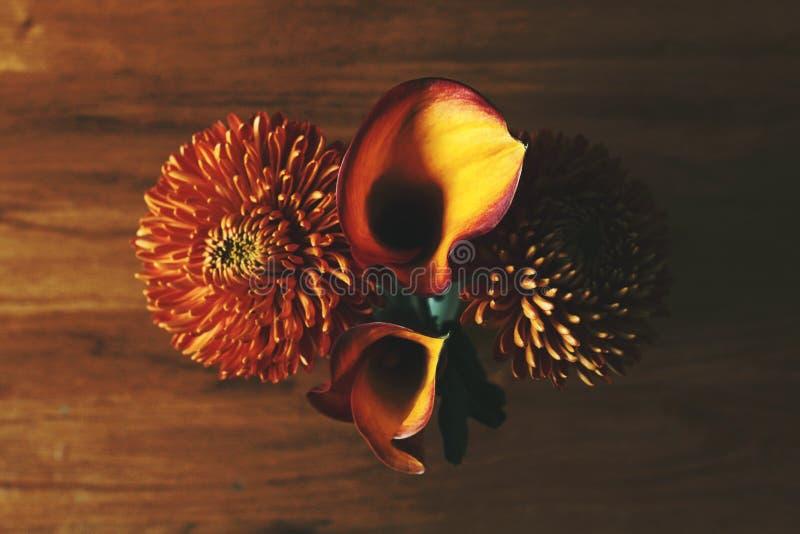 Krysantemum och Calla Lily Flowers royaltyfri foto