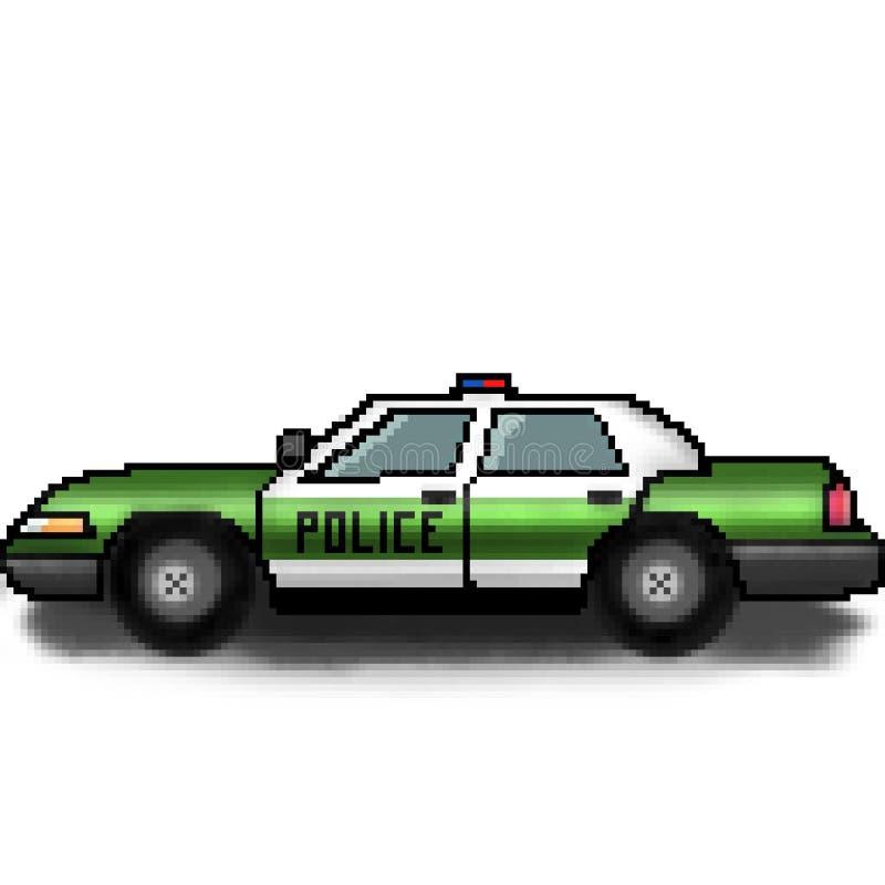 Kryssare för polisen för bit för PIXEL 8 utdragen mångfärgad med nöd- ljus vektor illustrationer