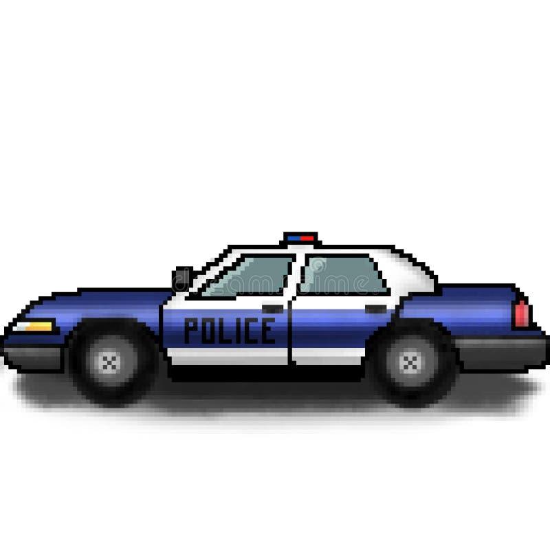 Kryssare för polisen för bit för PIXEL 8 utdragen mångfärgad med nöd- ljus royaltyfri illustrationer