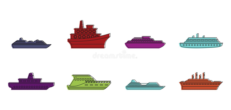Kryssaresymbolsuppsättning, färgöversiktsstil stock illustrationer