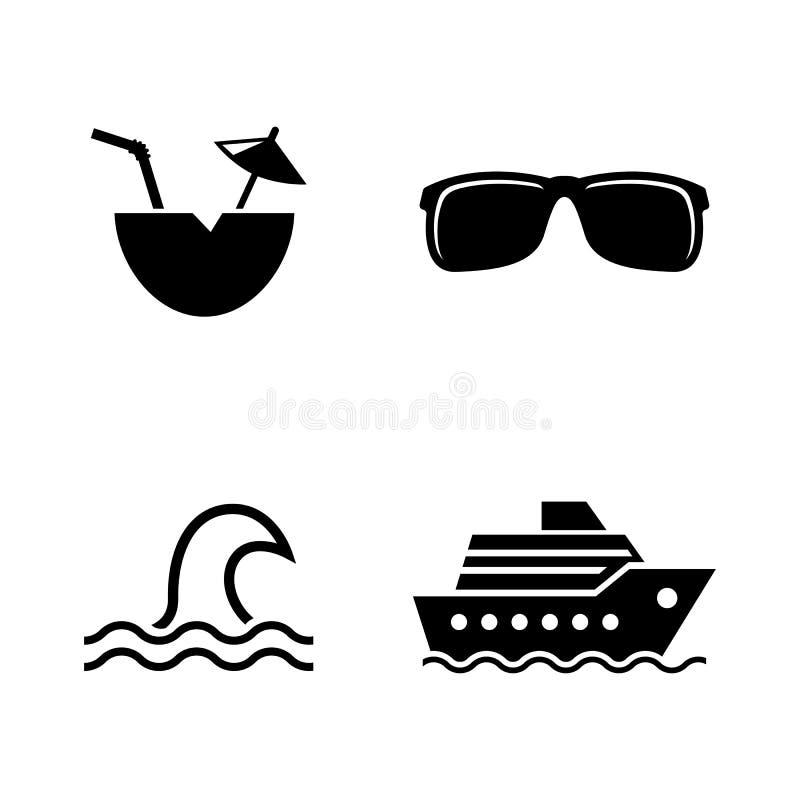 Kryssning havslopp Enkla släkta vektorsymboler vektor illustrationer