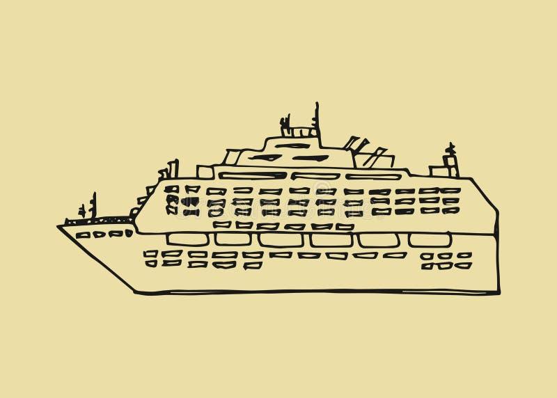 Kryssningeyelinersymbol sätta på land tidskriften för färgflickaillustrationen som läser den sandiga vektorn Skissa handteckninge royaltyfri illustrationer