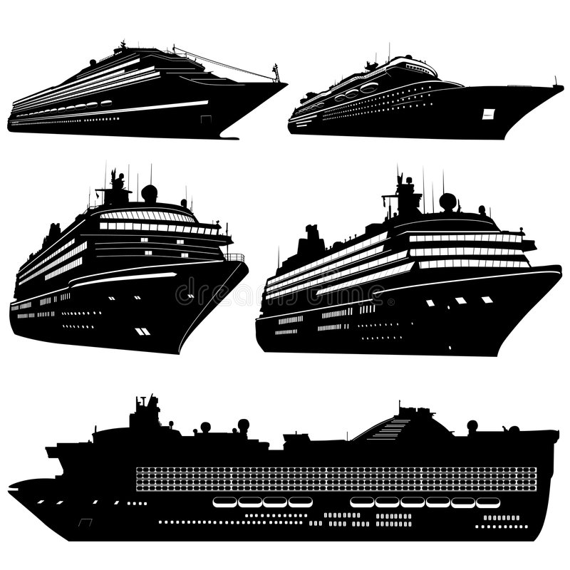 kryssningshipvektor stock illustrationer