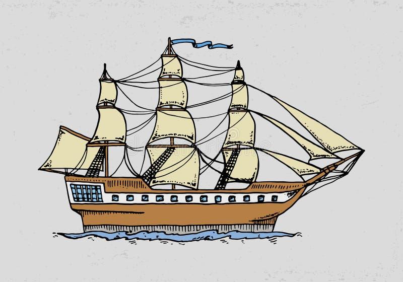 kryssningskepp eller segelbåtillustration till det djupa havet den inristade handen som dras i gammalt, skissar stil, tappningtra royaltyfri illustrationer