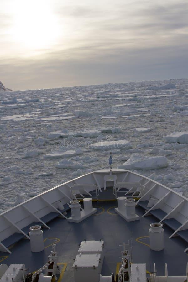 Kryssningskepp i isfält arkivbild
