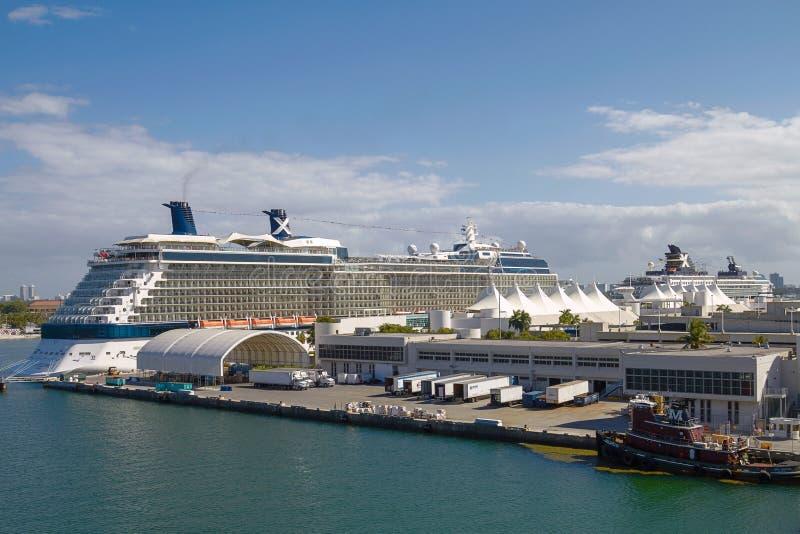 Kryssningskepp i porten av Miami, Florida, Förenta staterna royaltyfria foton
