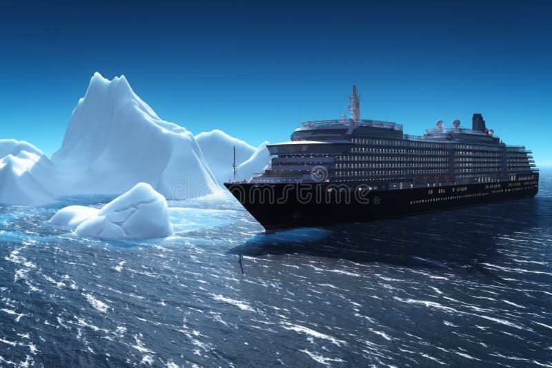 Kryssningskepp och isberg stock illustrationer