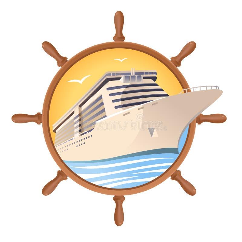 Kryssningskepp på bakgrunden för styrninghjul Vektorillustration för loppdesign royaltyfri illustrationer