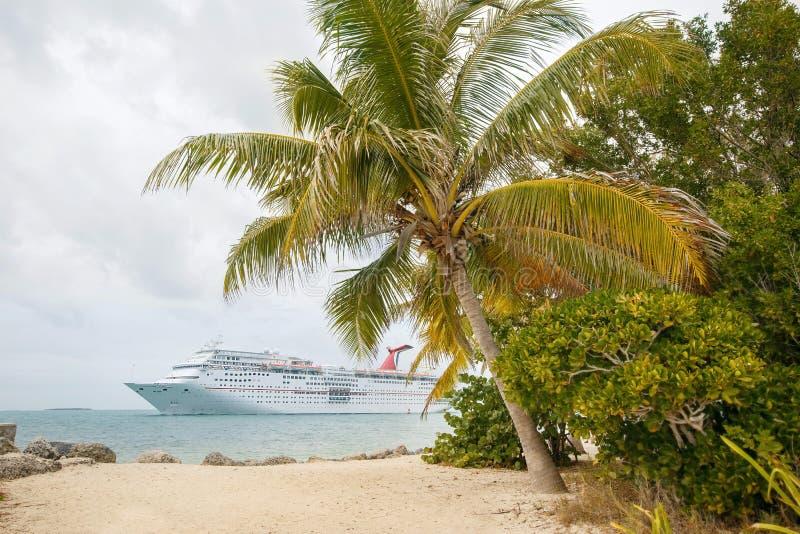 Kryssningskepp vid stranden med palmträd royaltyfri bild