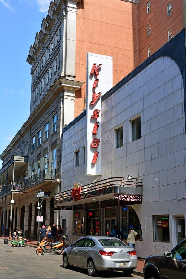 Krystal Burgers snabbmatsrestaurang i New Orleans, USA royaltyfria foton