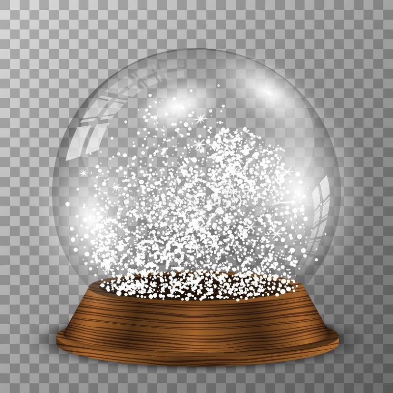 Krystaliczna śnieżna kula ziemska na drewnianym piedestale Przejrzysty wektorowy snowglobe z drewnianą dekoracją royalty ilustracja