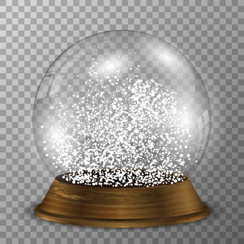Krystaliczna śnieżna kula ziemska na drewno stojaku Przejrzysty wektorowy snowglobe z drewnianą dekoracją ilustracji
