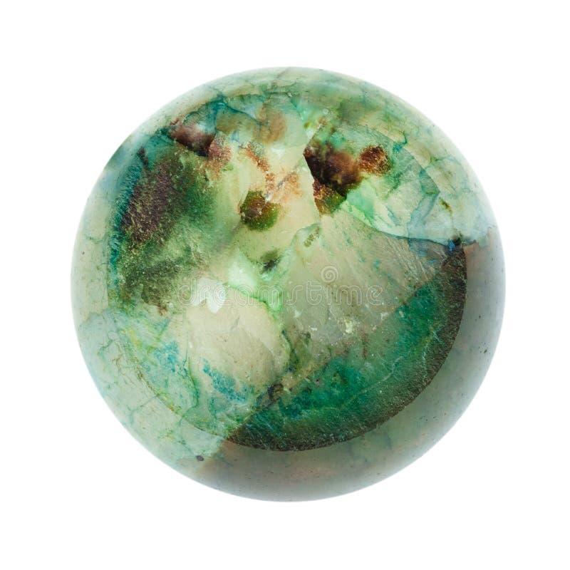 Krystaliczna tekstura zielony agat łamająca piłka obraz stock