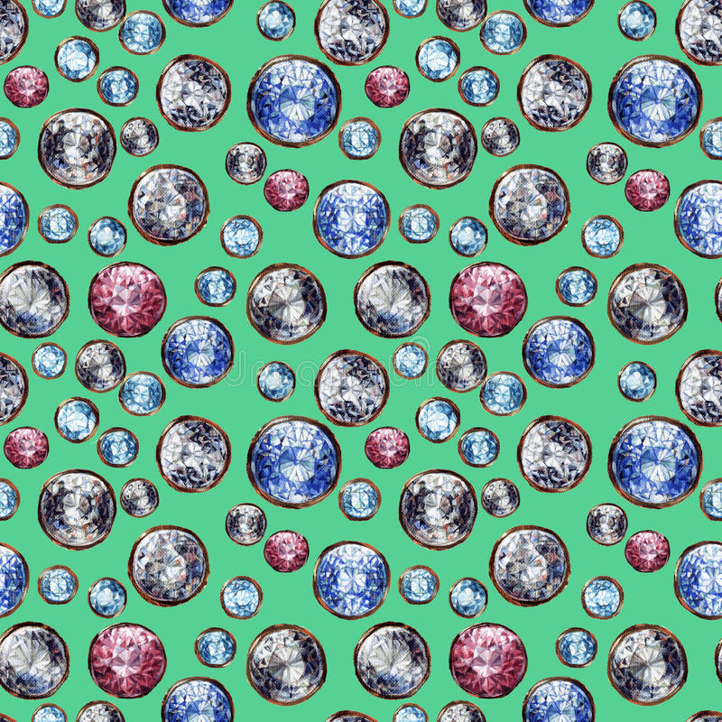 Krystalicznego gemstone bezszwowy wzór Diamentowy stanowczy rubinowy szafir dryluje klejnoty złocistych Błyszczący moda turkusu t ilustracja wektor