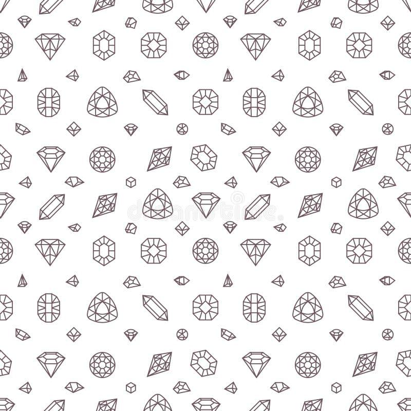 Krystaliczni diamenty, górnik drylują wektorowego bezszwowego wzór ilustracja wektor