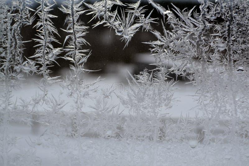 Krystaliczni płatki śniegu na okno 17 fotografia stock