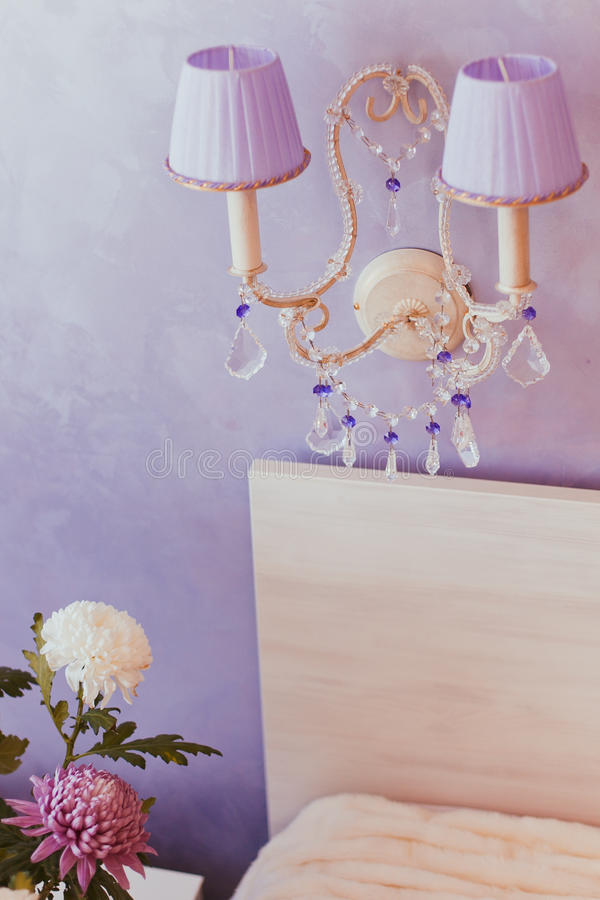 Krystaliczny ściennej lampy oświetlenie zdjęcie stock