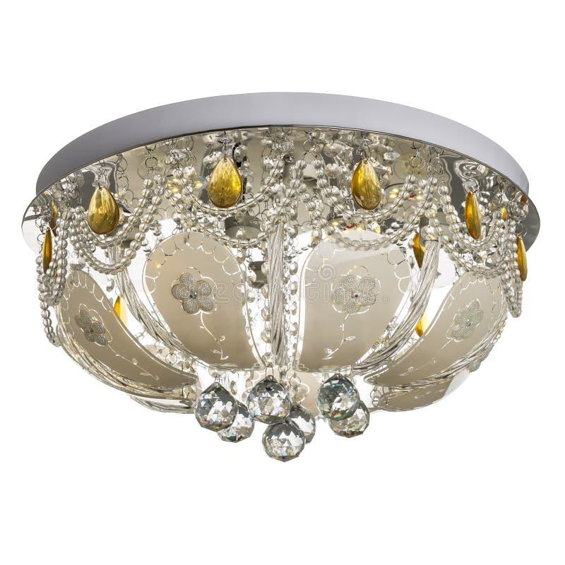 Krystaliczny świecznik Podsufitowa lampa robić metal i crysta obrazy stock