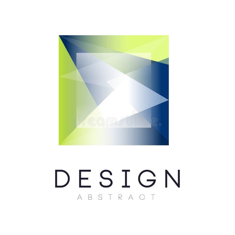 Krystaliczny abstrakcjonistyczny logo w kwadrat formie Geometryczna odznaka z gradientu błękita i zieleni kolorami wektorowy proj ilustracji