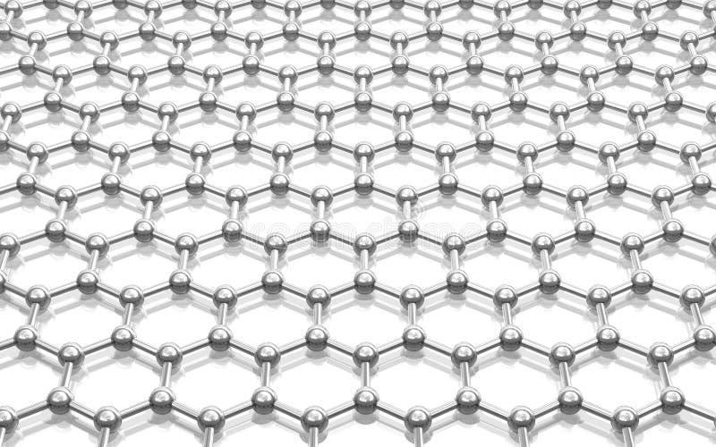 krystaliczny graphene kratownicy model ilustracja wektor
