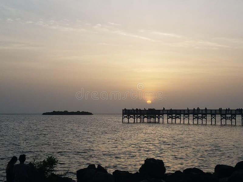 Krystaliczny Rzeczny zatoki meksykańskiej słońca set zdjęcia stock