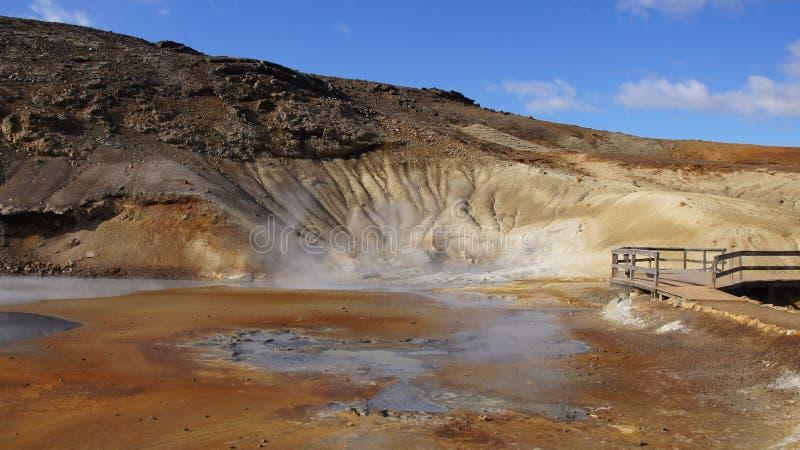 Krysuvik geothermisch gebied Seltun in IJsland royalty-vrije stock afbeelding