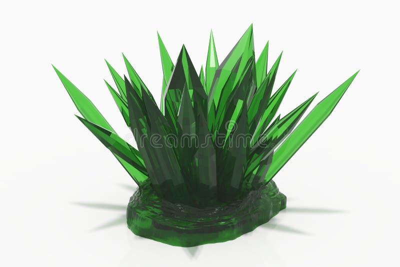 Kryształ barwiona zielona szmaragdowa kwarc na białym tle ilustracji