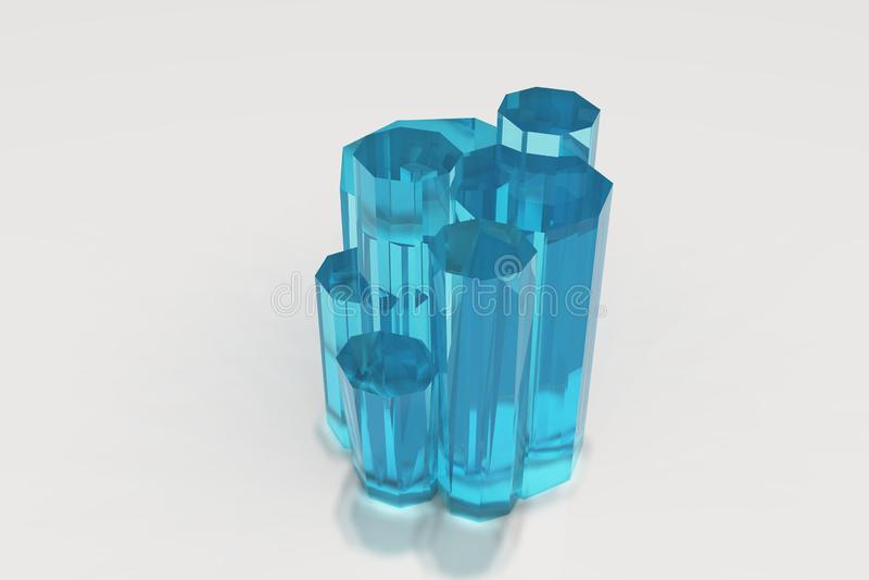 Kryształ barwiony błękitny seledyn na białym tle royalty ilustracja