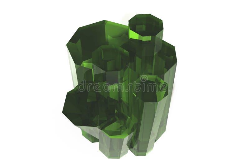 Kryształ barwiona zielona szmaragdowa kwarc na białym tle ilustracja wektor