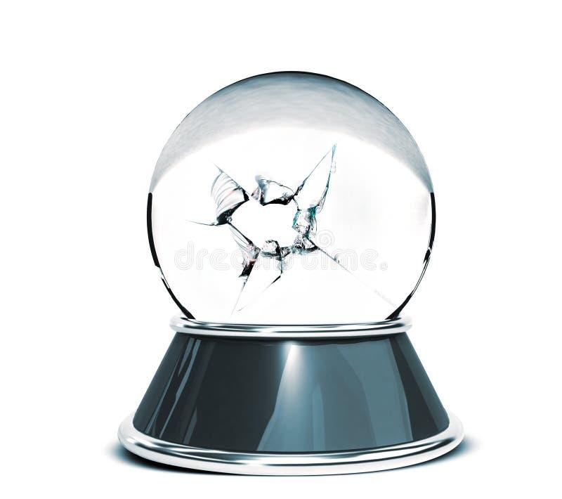 Kryształowa kula nad białym tłem i łamany szkło - szablon dla projektantów royalty ilustracja