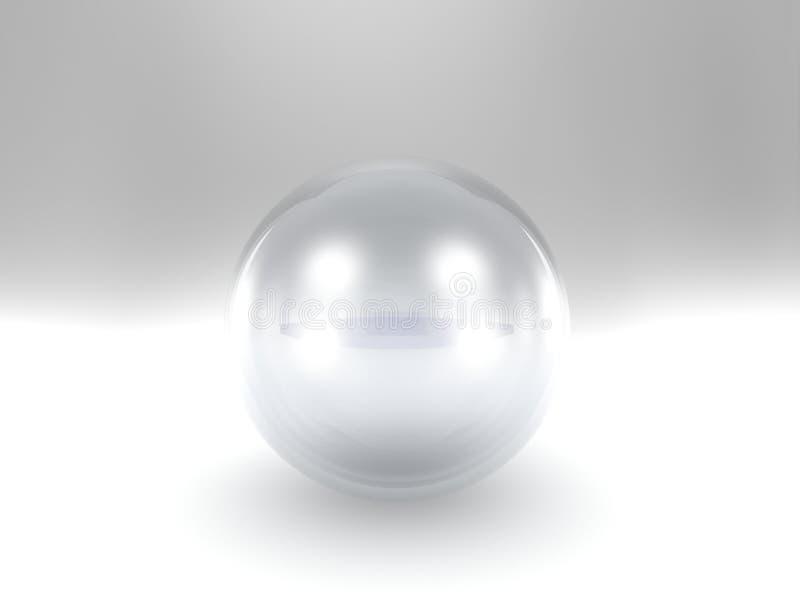 Kryształowa kula nad tła biały tłem ilustracja wektor