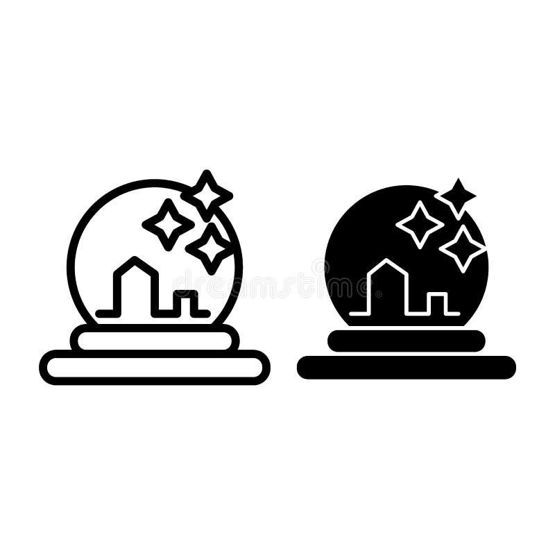 Kryształowej kuli linia i glif ikona Magik piłka z gwiazdy wektorową ilustracją odizolowywającą na bielu Szklany sfera kontur ilustracja wektor