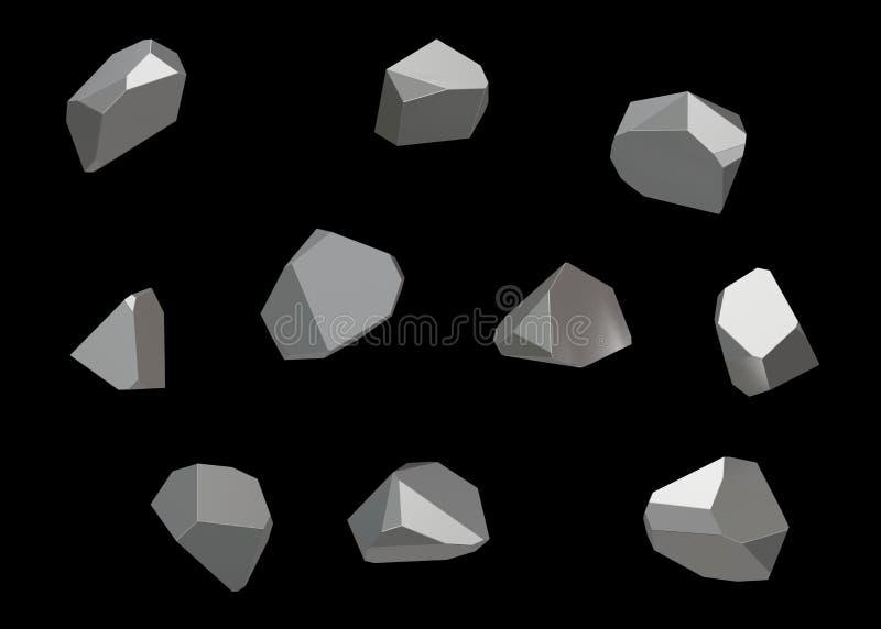 Kryształu Kamiennego klejnotu makro- kopalny inkasowy ustawiający 10 jednostek, kwarc na czarnym tle ilustracja 3 d ilustracja wektor
