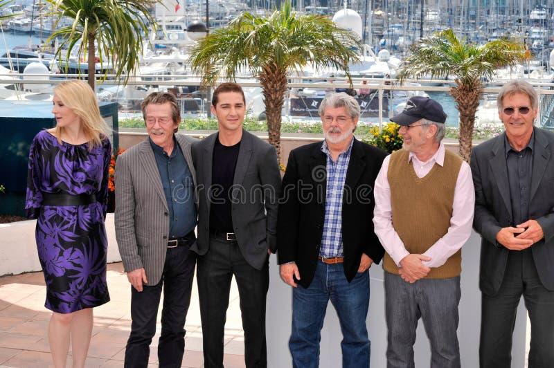 Kryształy, George Lucas, Harrison Ford, John Skaleczenie, Szyicki Los Angeles Beouf, Steven Spielberg, Skaleczenia obraz stock
