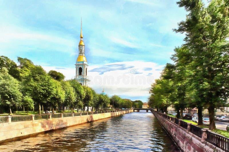 Kryukov运河和Nikolsky Sobor的钟楼 皇族释放例证