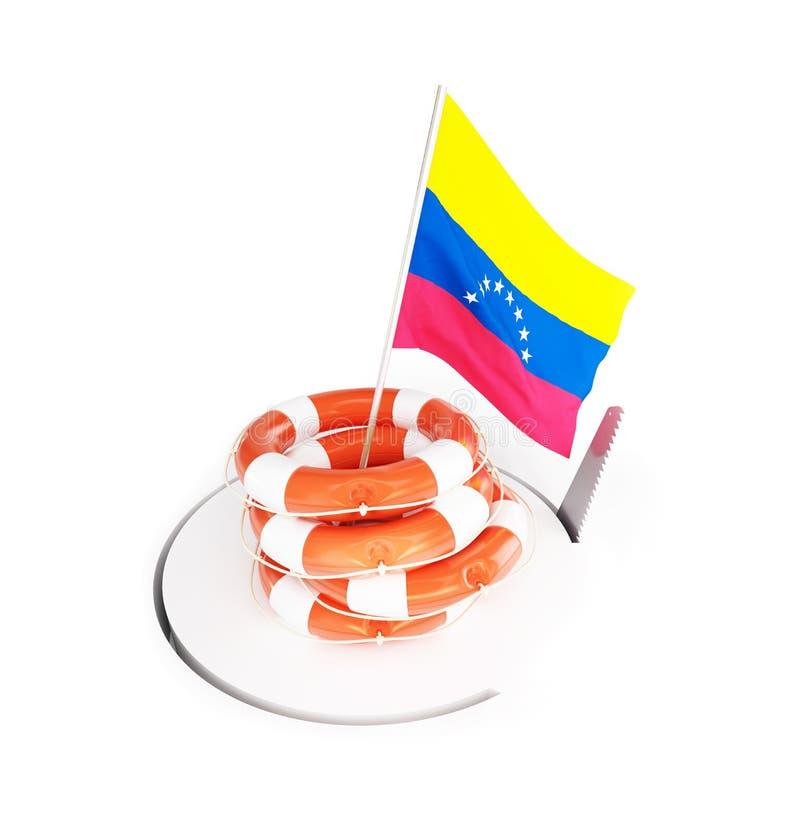 Kryzys finansowy w Wenezuela na białej tła 3D ilustraci, 3D rendering royalty ilustracja