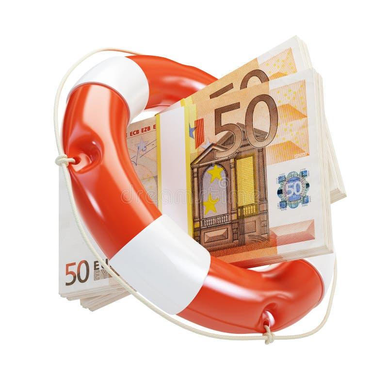 kryzys pomoc euro pieniężna ilustracja wektor