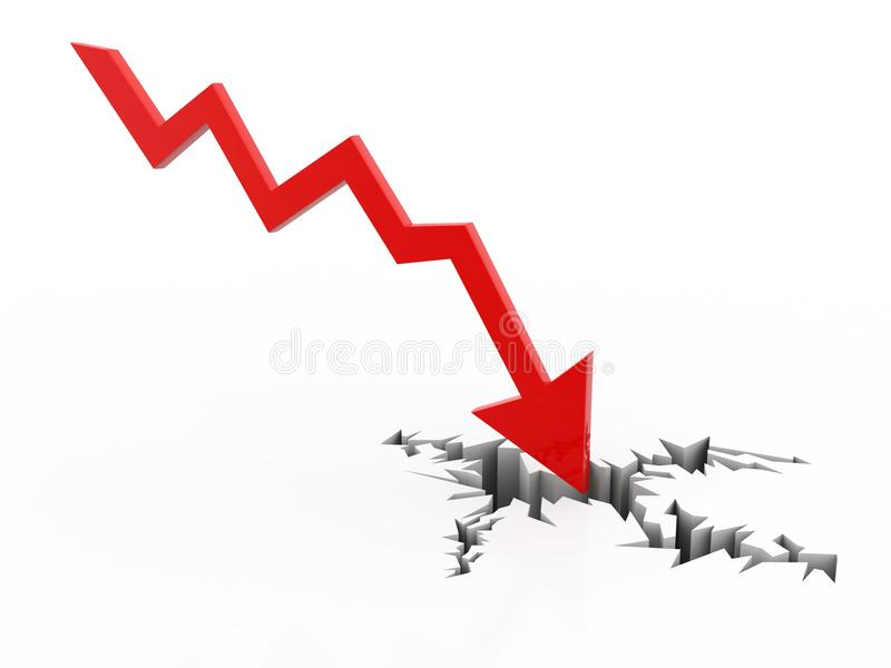 Kryzysu finansowego pojęcie, kryzys gospodarczy Biznesowy spadek, 3d rendering royalty ilustracja