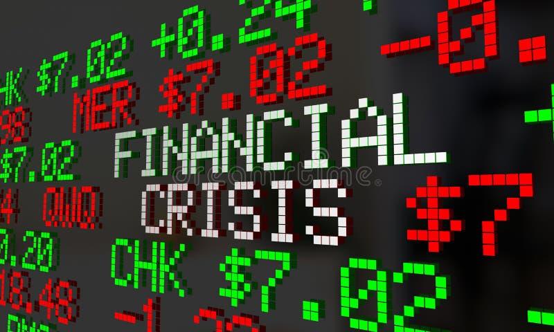 Kryzysu Finansowego rynku papierów wartościowych serpentyny słowa ilustracji