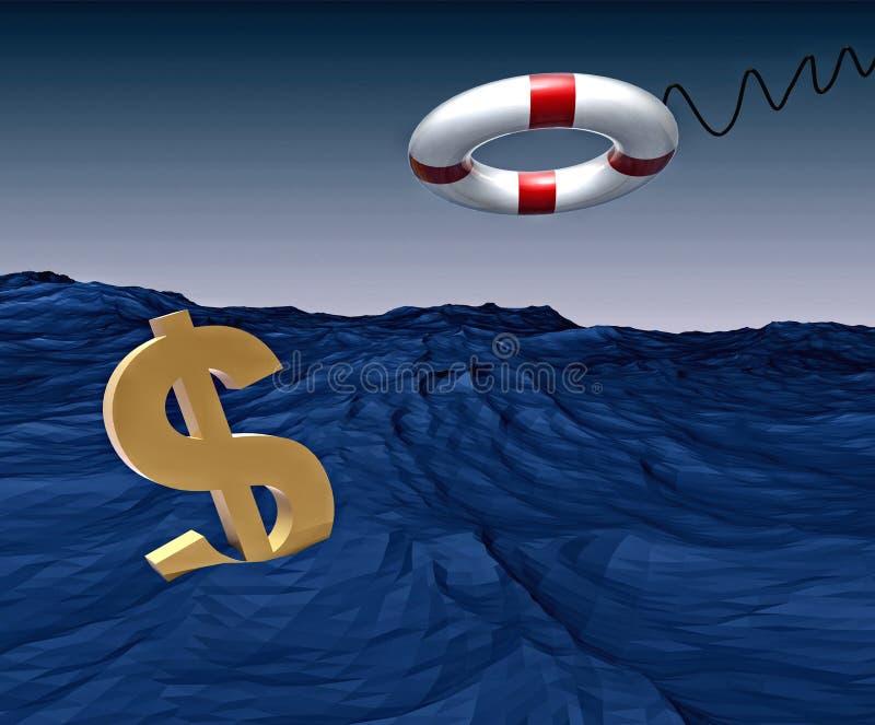 kryzysu finansowy lifebuoy bezpieczny ilustracja wektor
