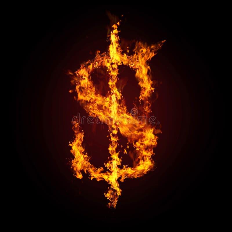 kryzysu ogień dolarowy pieniężny royalty ilustracja