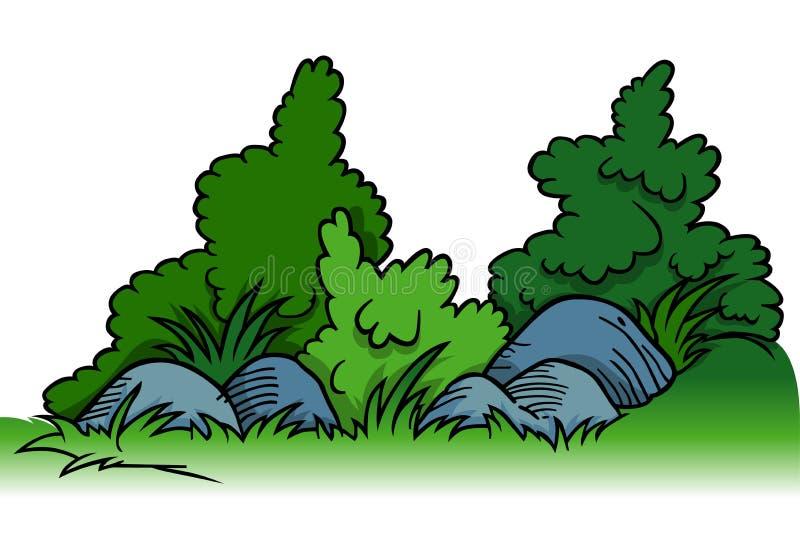 Krzaki z skałami royalty ilustracja