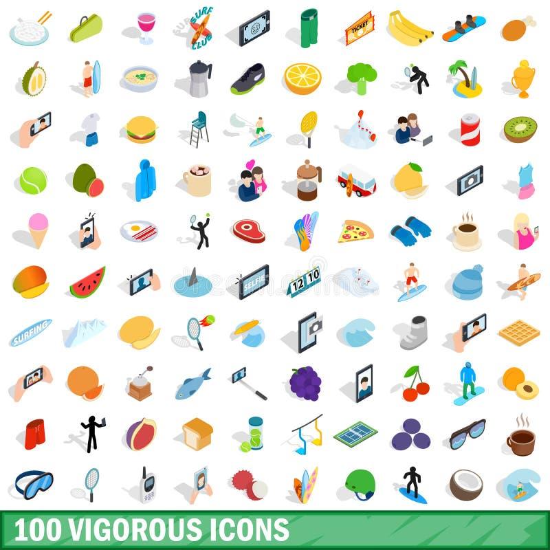 100 krzepkich ikon ustawiających, isometric 3d styl ilustracji