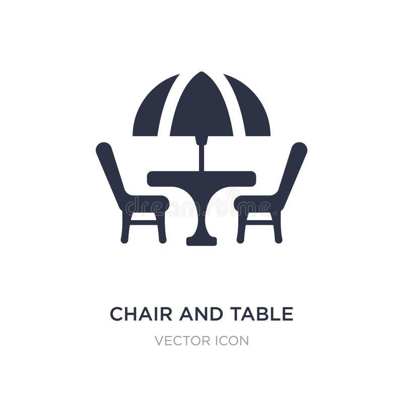 krzesła i stołu ikona na białym tle Prosta element ilustracja od miasto elementów pojęcia ilustracja wektor