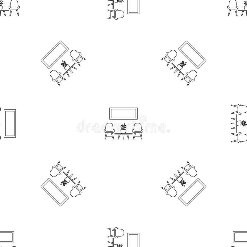 Krzesła i izbowego roślina wzoru bezszwowy wektor ilustracji